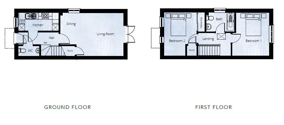 2 bed semi-detached for sale in Kingstone - Property Floorplan