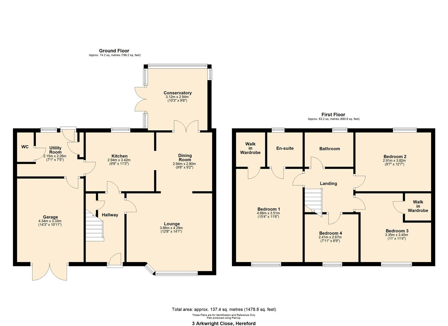 4 bed semi-detached for sale in Hereford - Property Floorplan