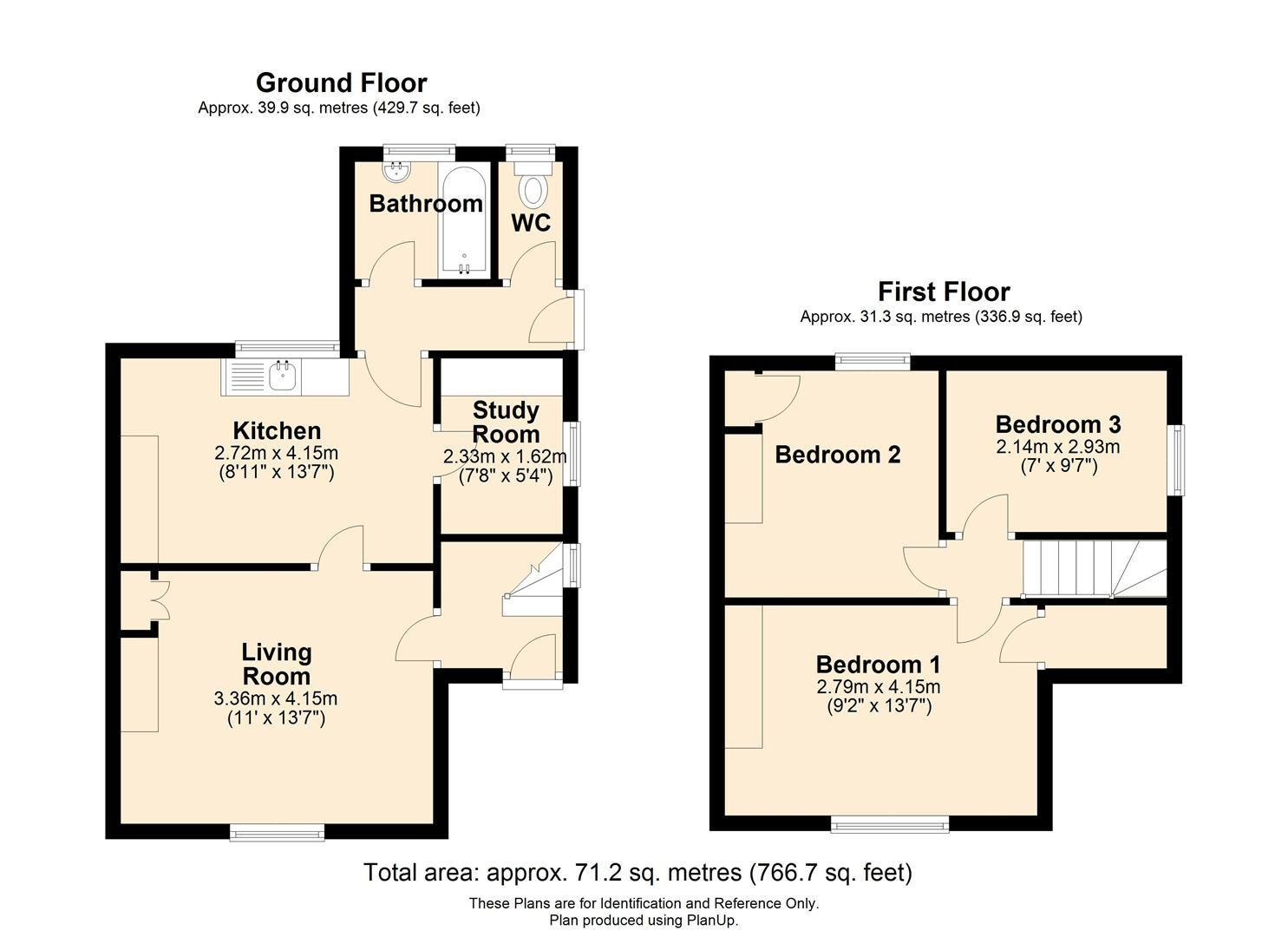 3 bed semi-detached for sale in Burley Gate - Property Floorplan