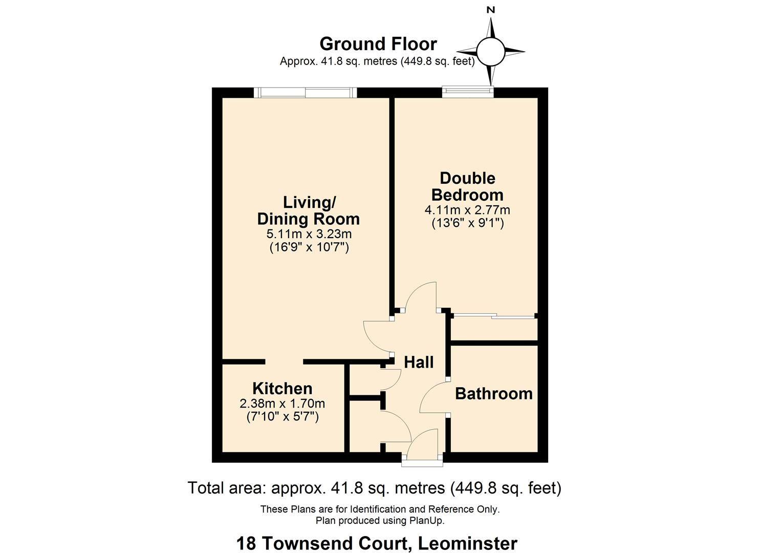 1 bed flat for sale in Leominster - Property Floorplan