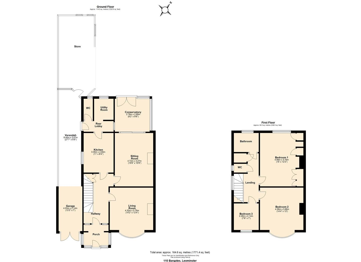 3 bed semi-detached for sale in Leominster - Property Floorplan