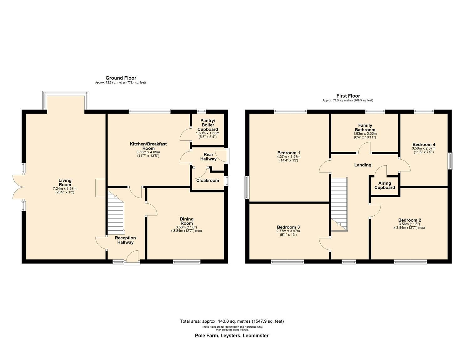 4 bed detached for sale in Leysters - Property Floorplan