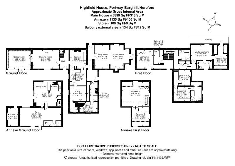 5 bed detached for sale in Burghill - Property Floorplan