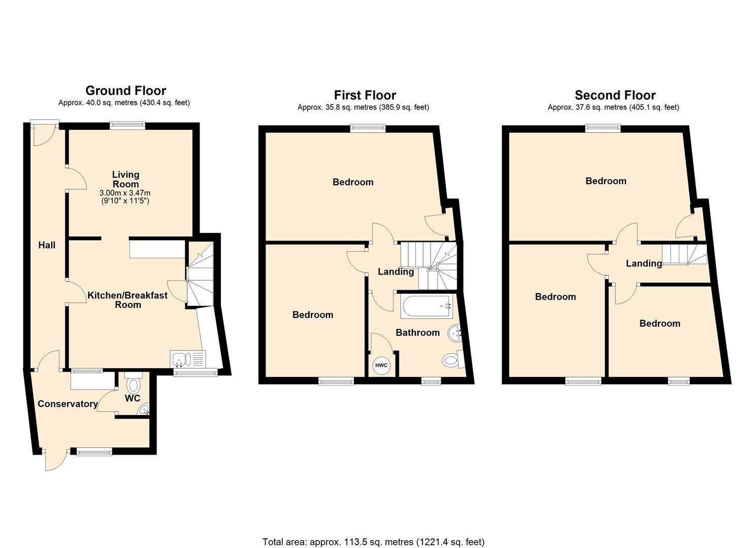5 bed town house for sale in Leominster - Property Floorplan
