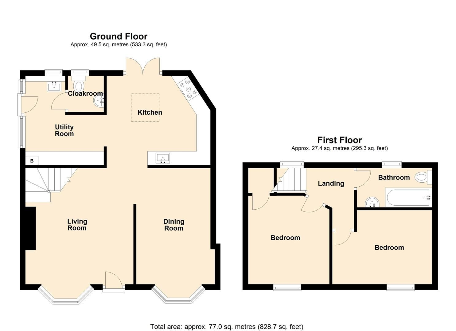 2 bed town-house for sale in Leominster - Property Floorplan