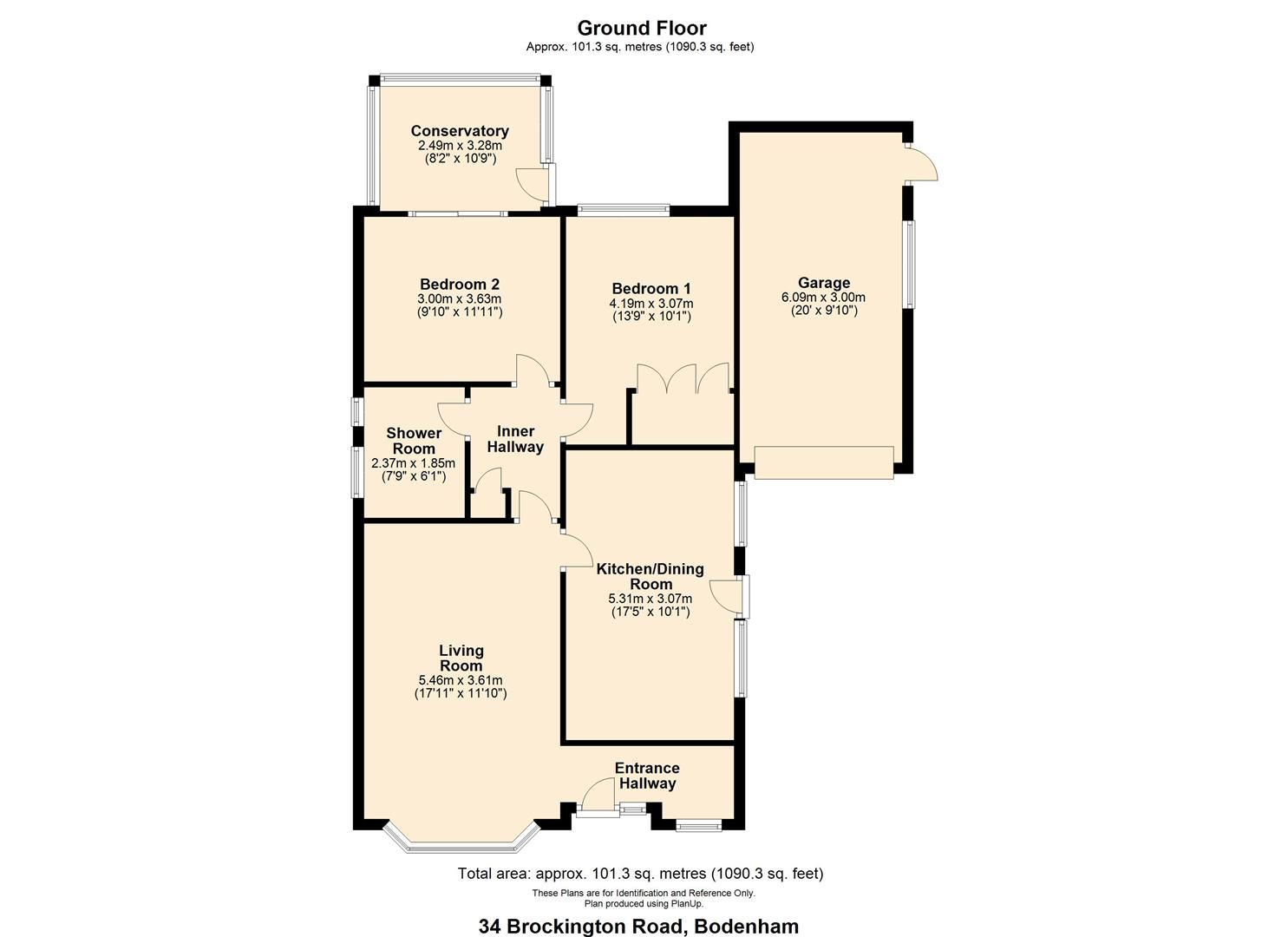 2 bed detached bungalow for sale in Bodenham - Property Floorplan