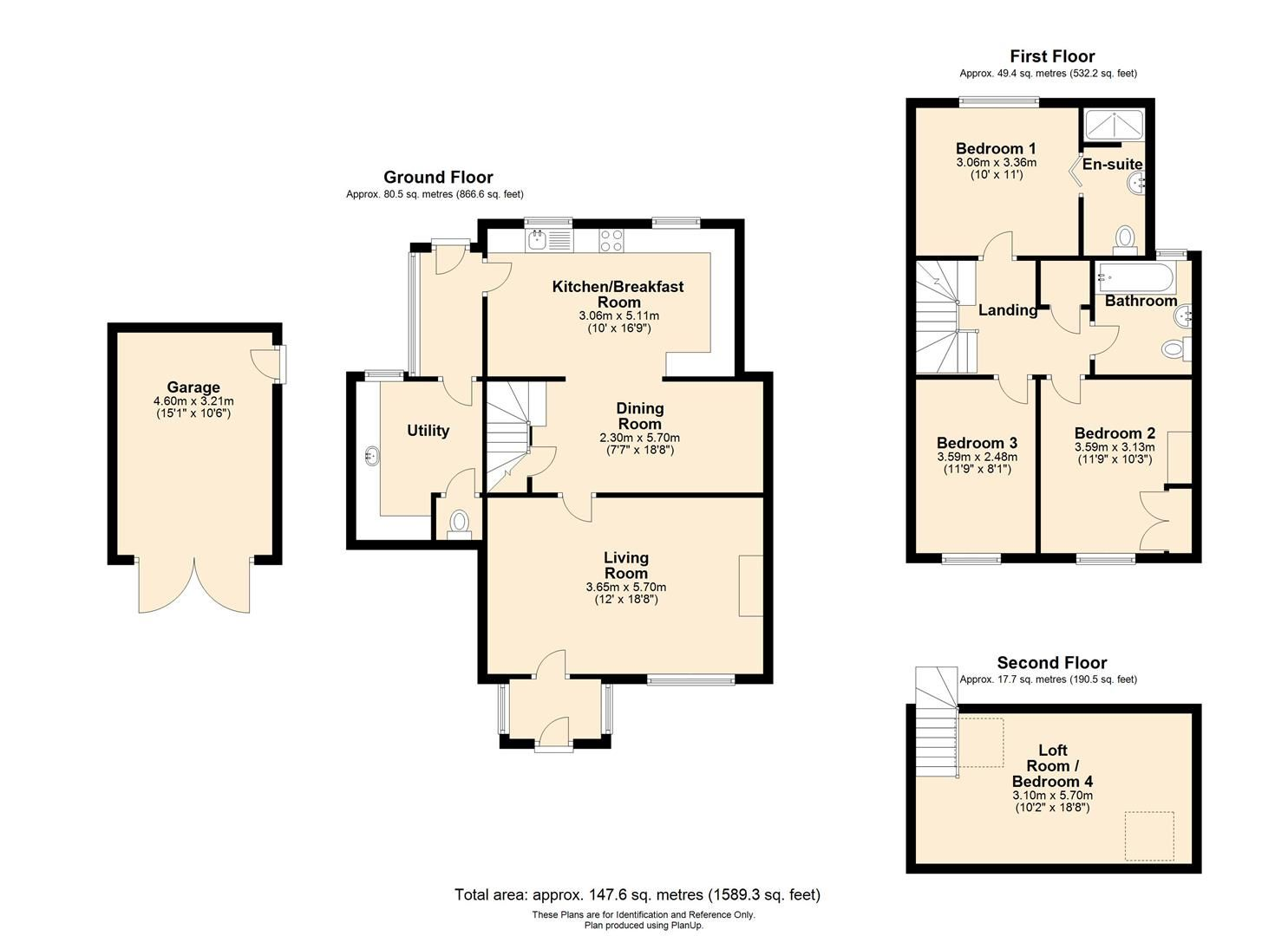3 bed semi-detached for sale in Madley - Property Floorplan