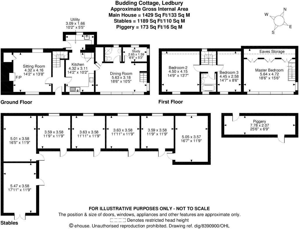 3 bed detached for sale in Canon Frome - Property Floorplan