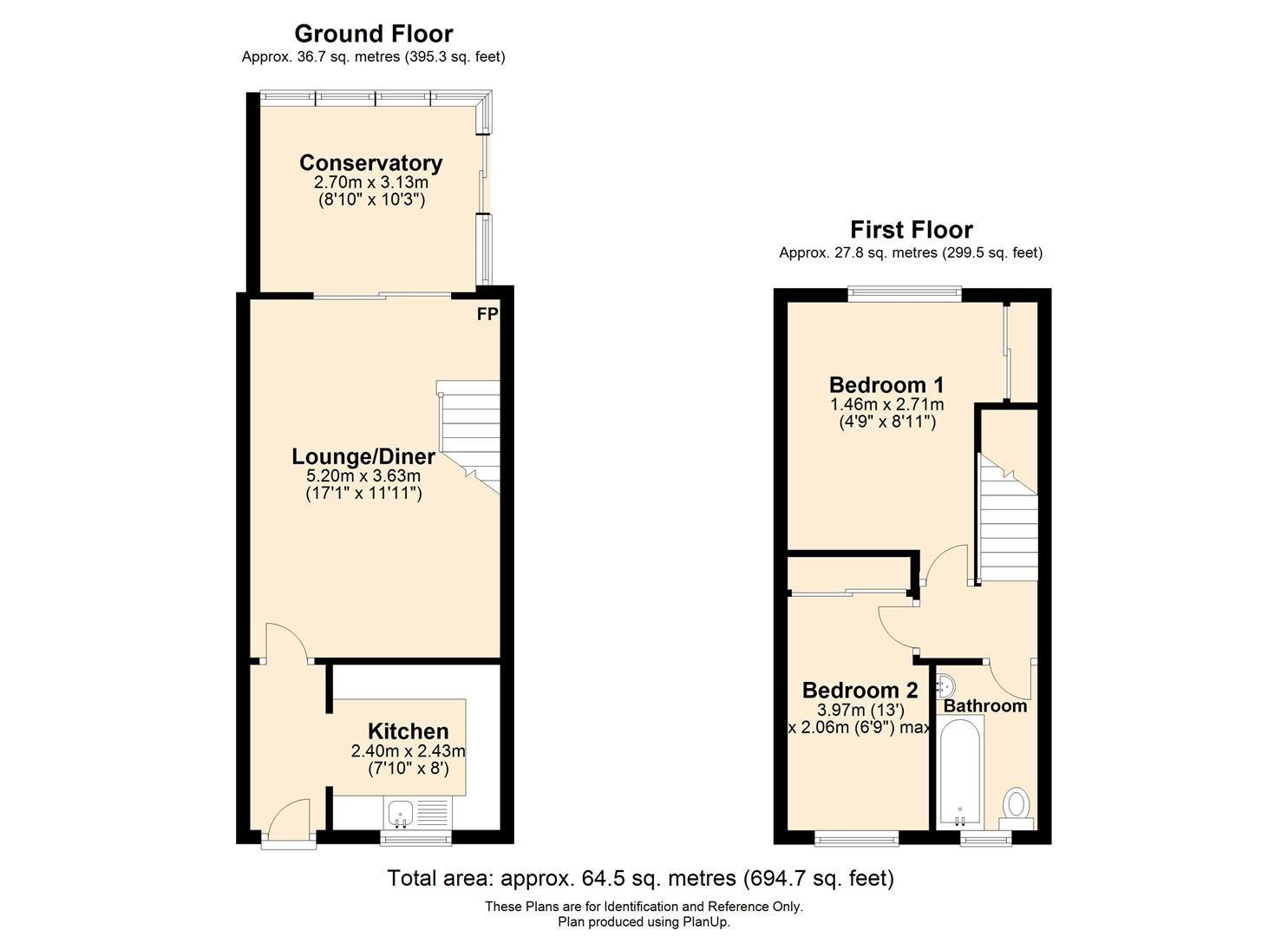 2 bed end-of-terrace for sale in Belmont - Property Floorplan