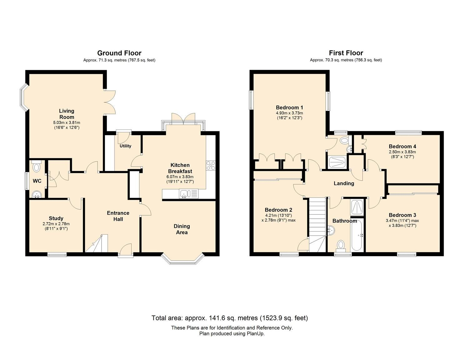 4 bed detached for sale in Whitestone - Property Floorplan