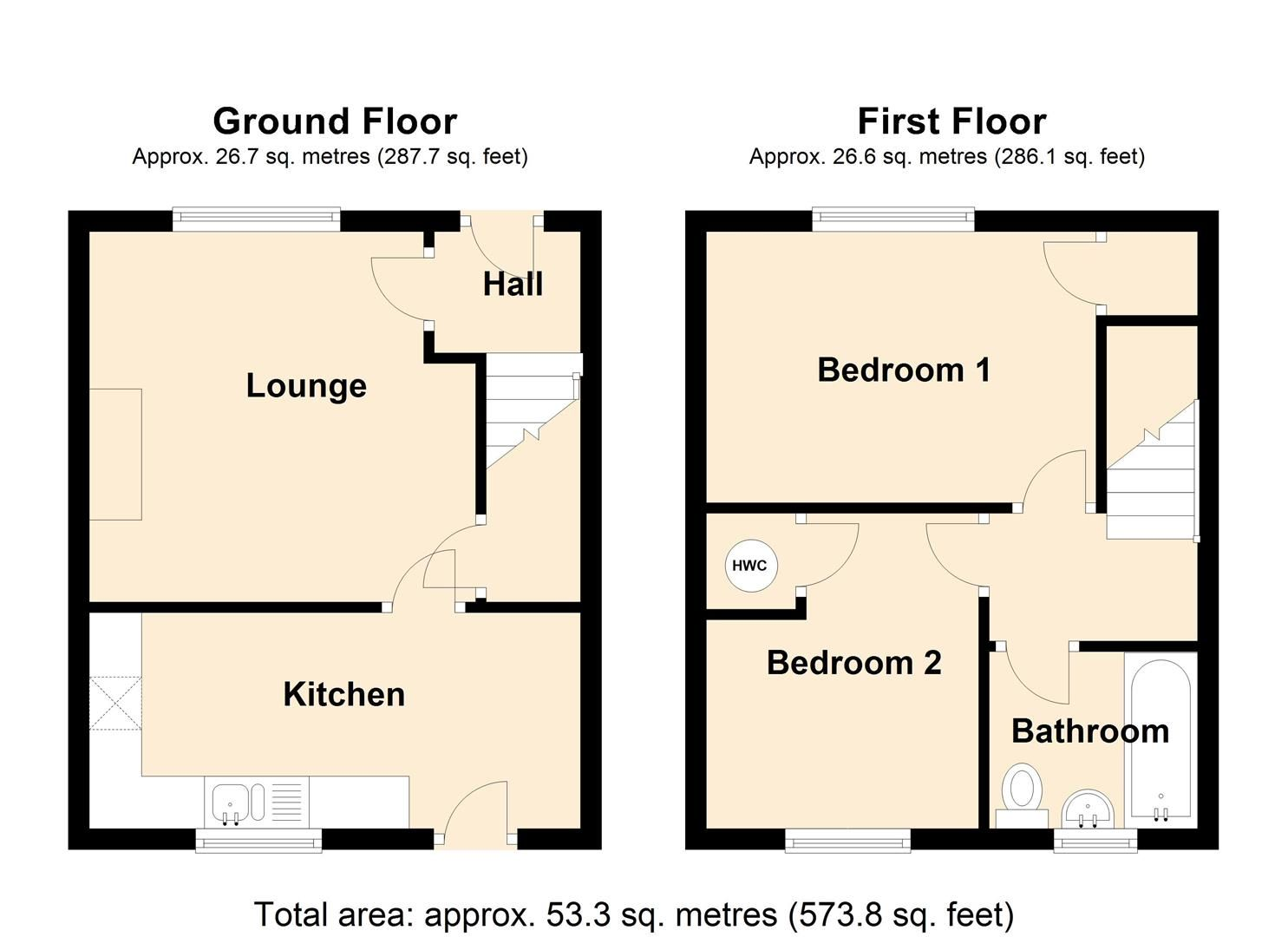 2 bed end-of-terrace for sale in Leominster - Property Floorplan