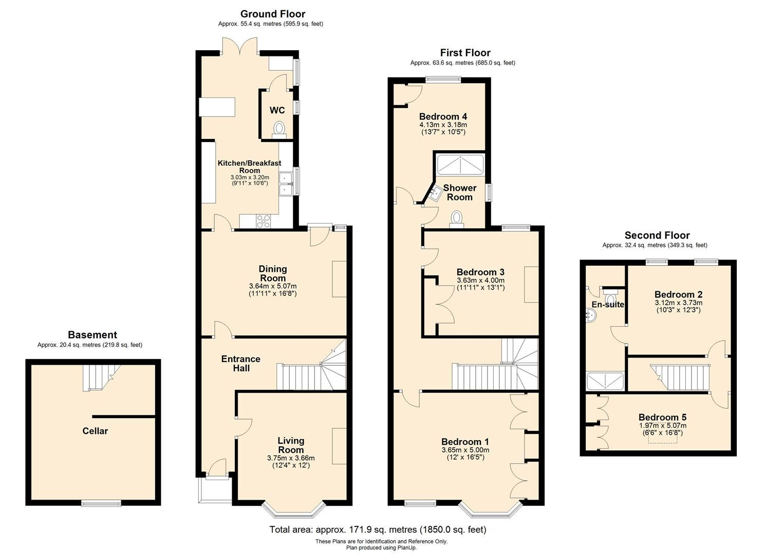 5 bed terraced for sale - Property Floorplan