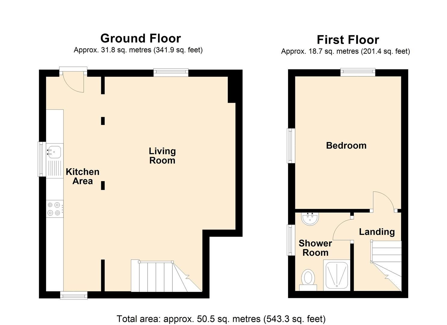1 bed semi-detached for sale in Leominster - Property Floorplan