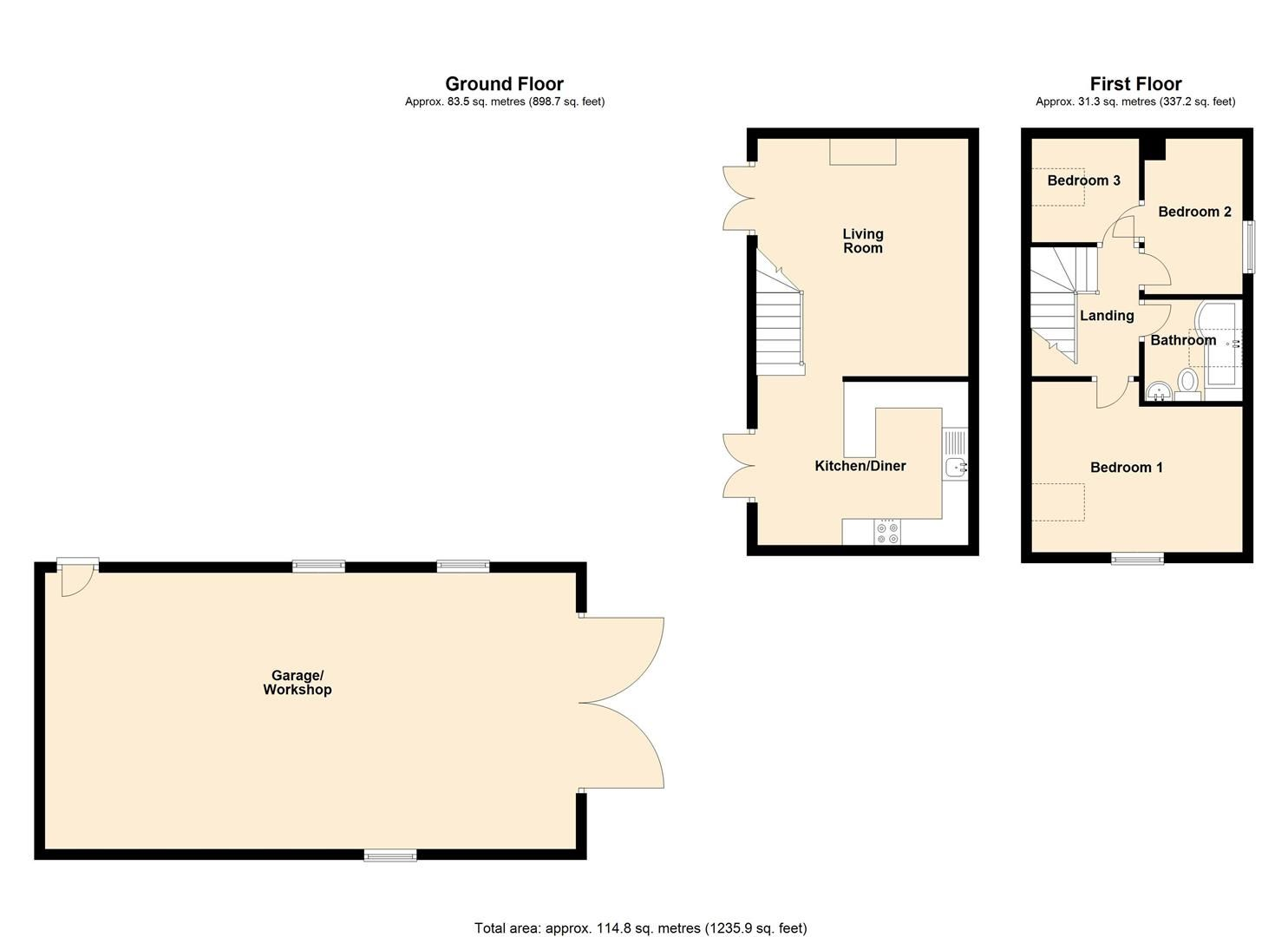 3 bed barn-conversion for sale in Lyonshall - Property Floorplan