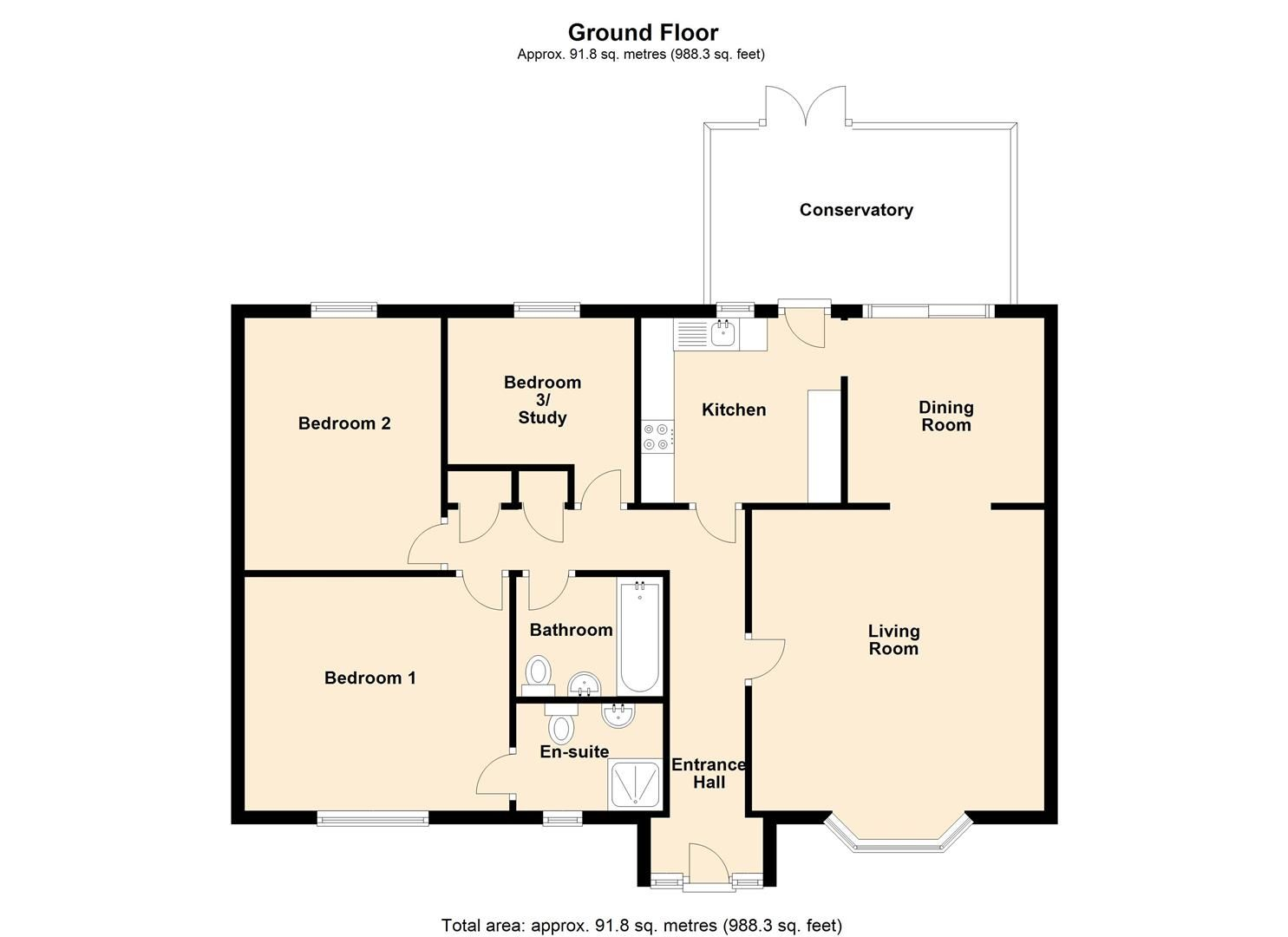 3 bed detached bungalow for sale in Norton - Property Floorplan