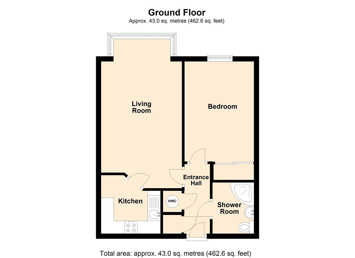 1 bed flat for sale in Leominster - Property Floorplan
