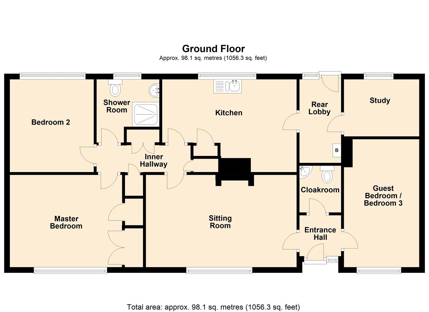 3 bed detached-bungalow for sale in Orleton - Property Floorplan