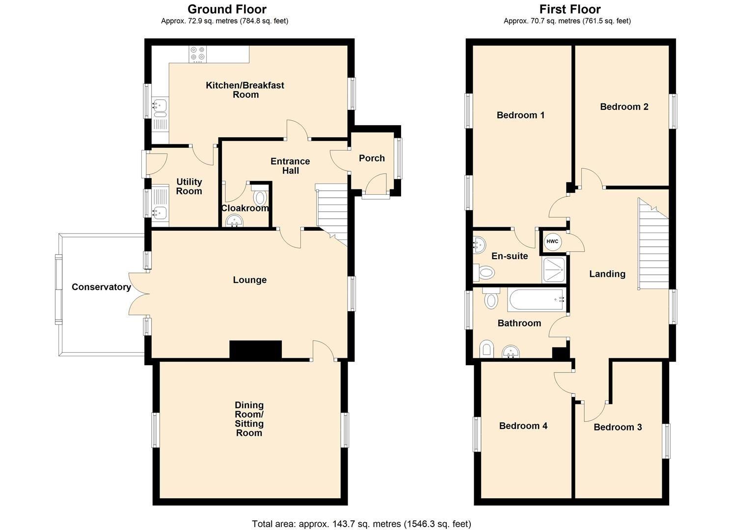 4 bed detached for sale in Bodenham - Property Floorplan
