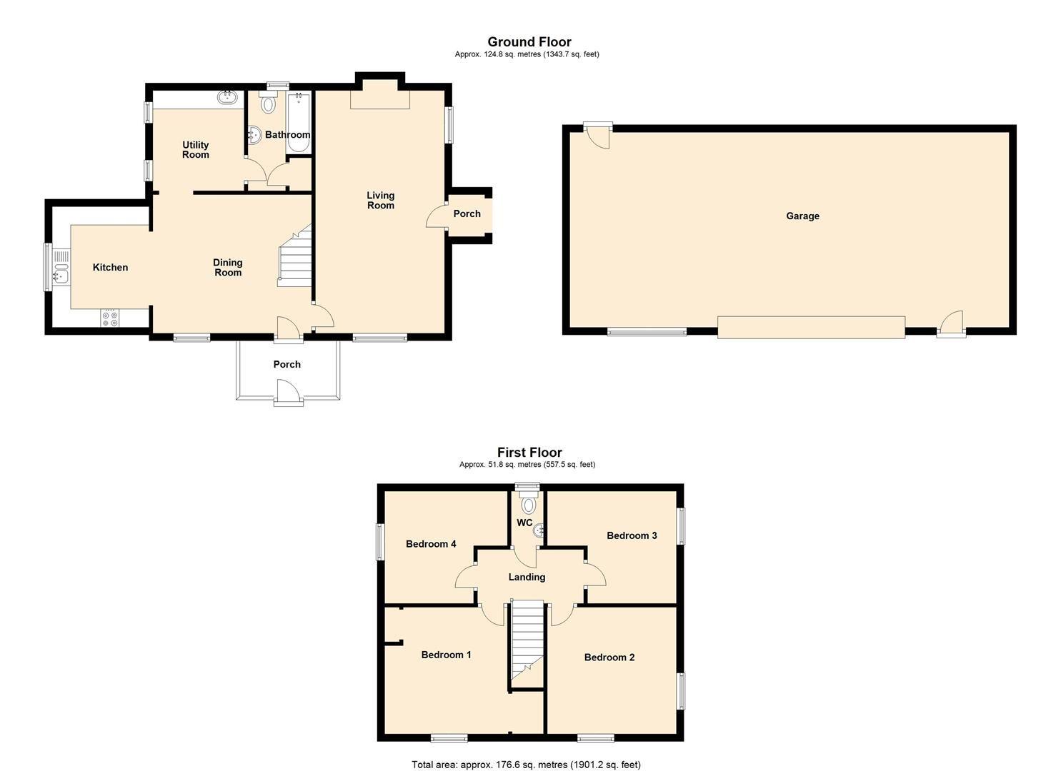 4 bed detached for sale in Shirlheath - Property Floorplan