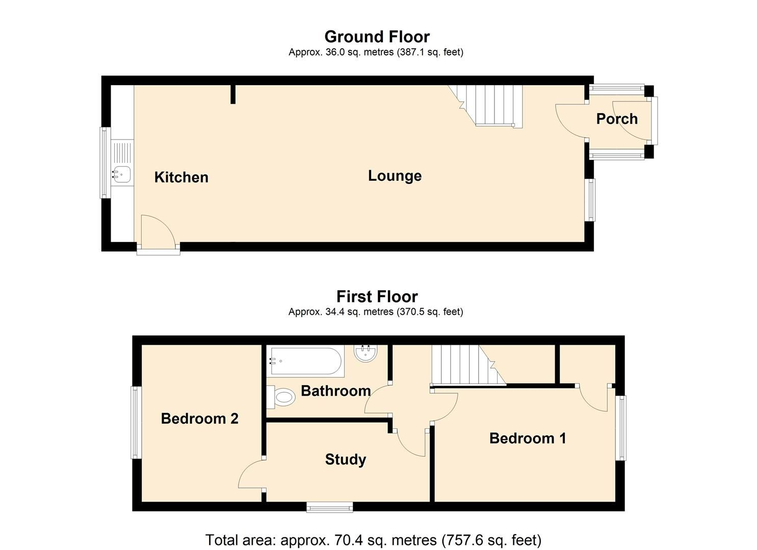 2 bed end of terrace for sale in Leominster - Property Floorplan