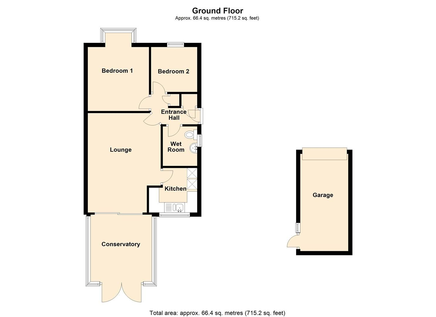 2 bed semi-detached bungalow for sale in Leominster - Property Floorplan