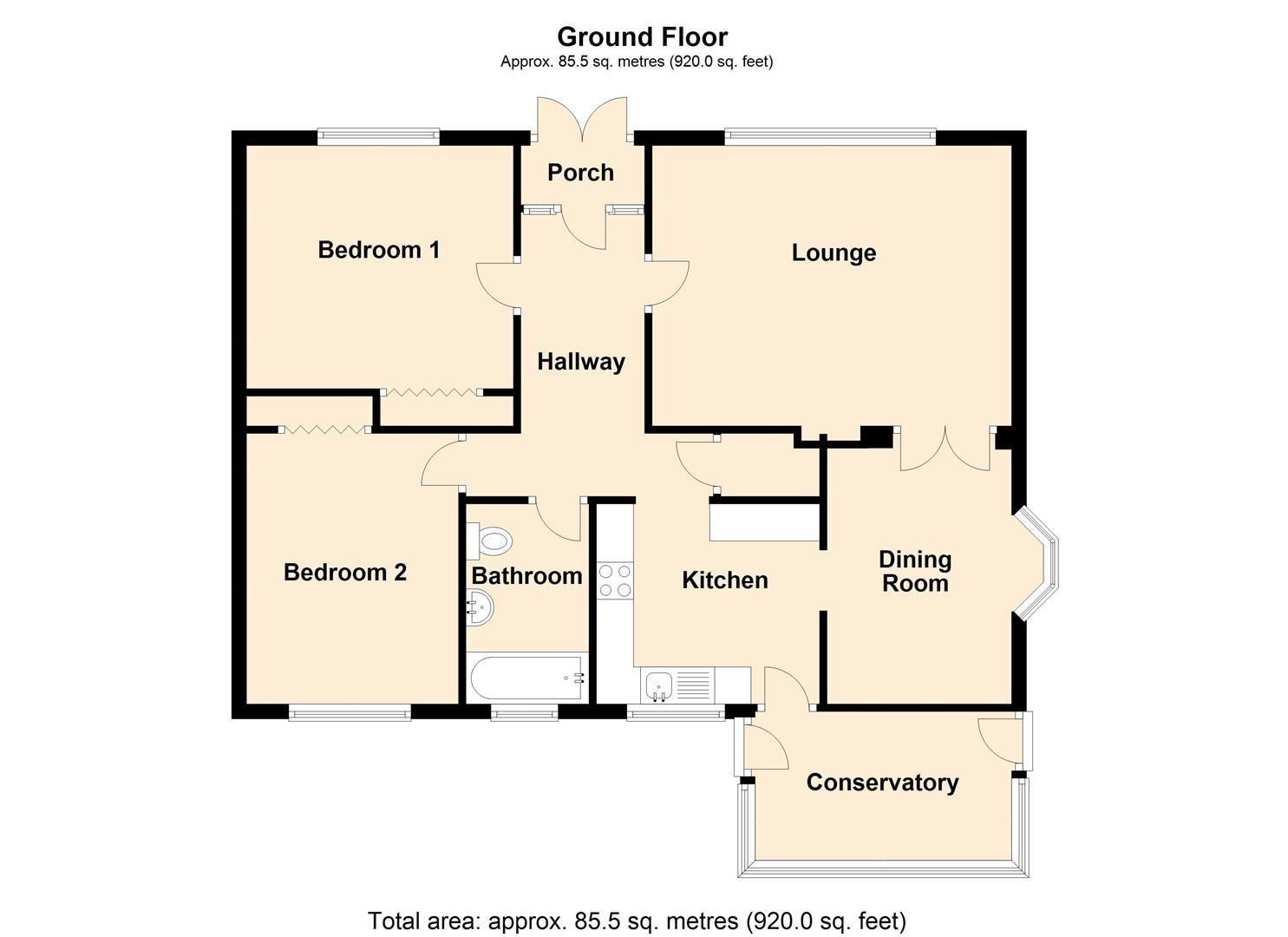2 bed detached-bungalow for sale in Dilwyn - Property Floorplan
