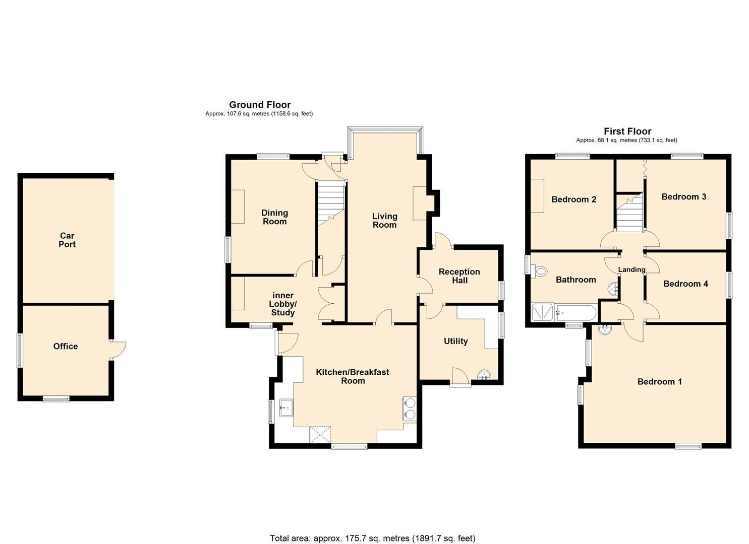 4 bed country house for sale in Stoke Prior - Property Floorplan