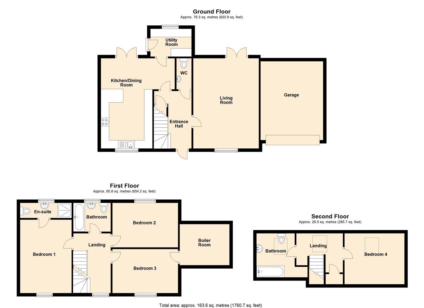 4 bed detached for sale in Brimfield - Property Floorplan