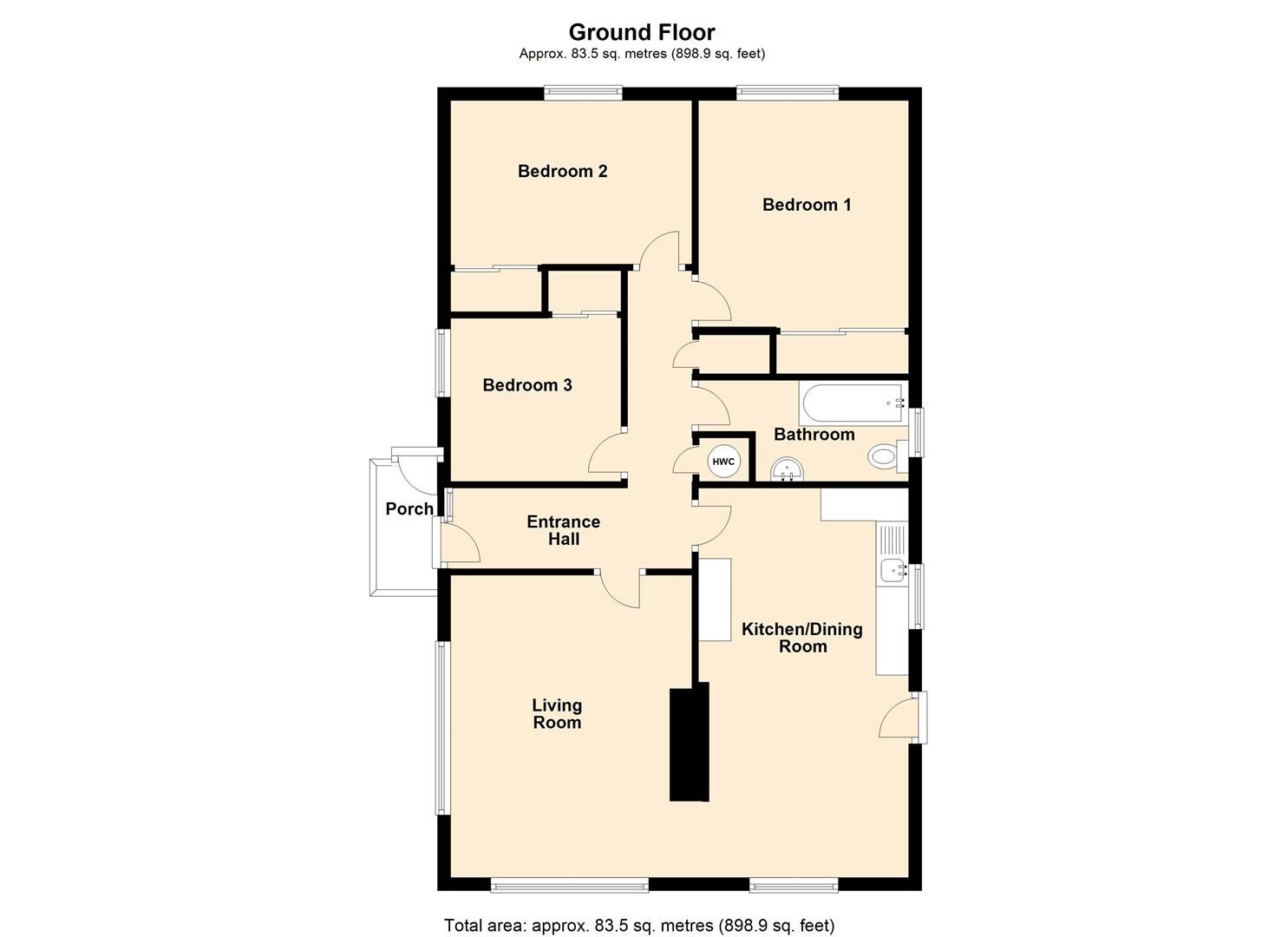 3 bed detached bungalow for sale in Dilwyn - Property Floorplan