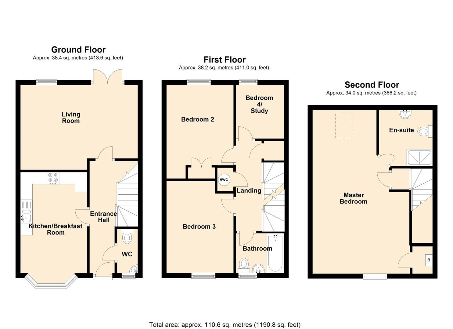 4 bed semi-detached for sale in Leominster - Property Floorplan