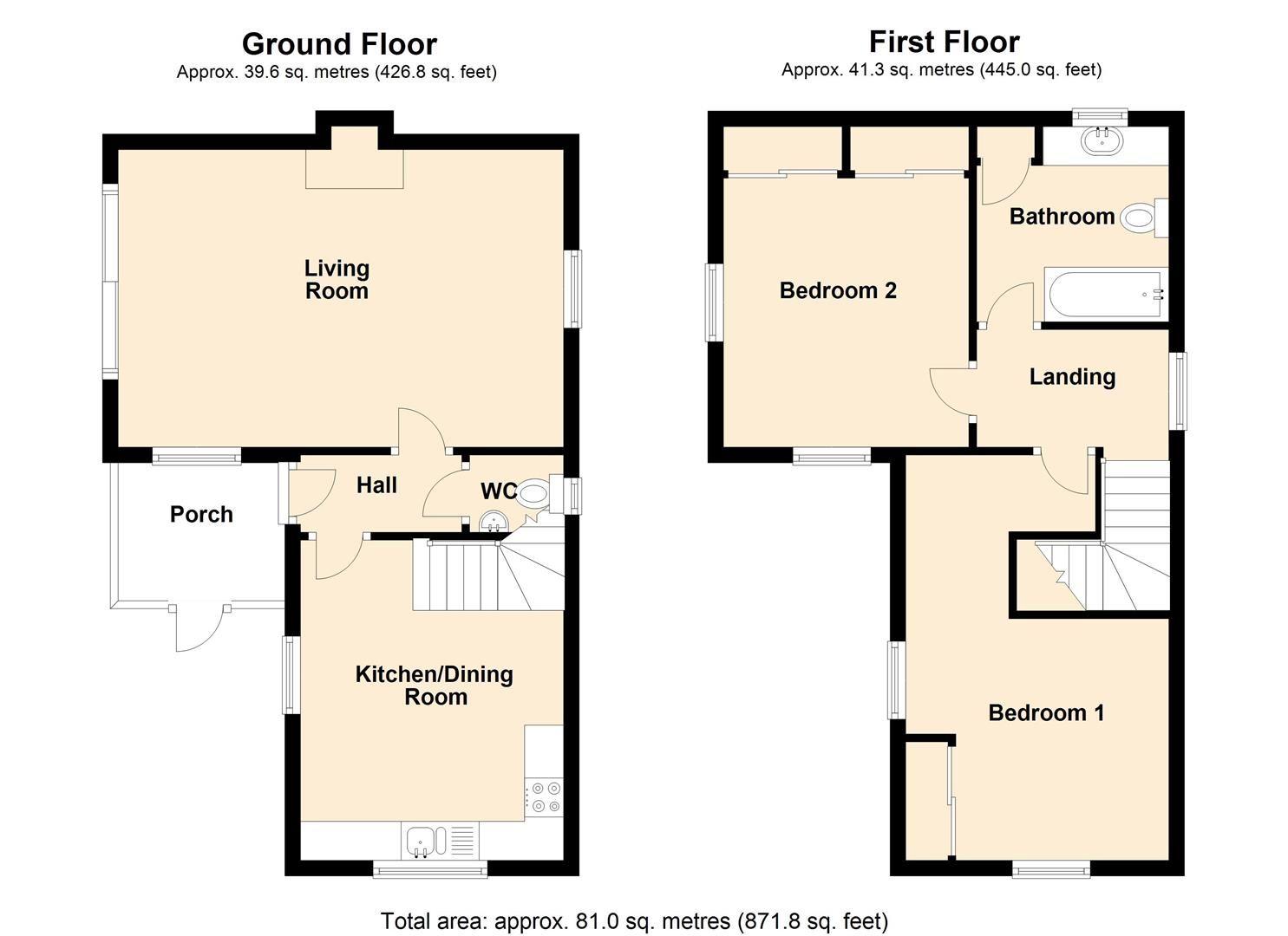 2 bed detached for sale in Richards Castle - Property Floorplan