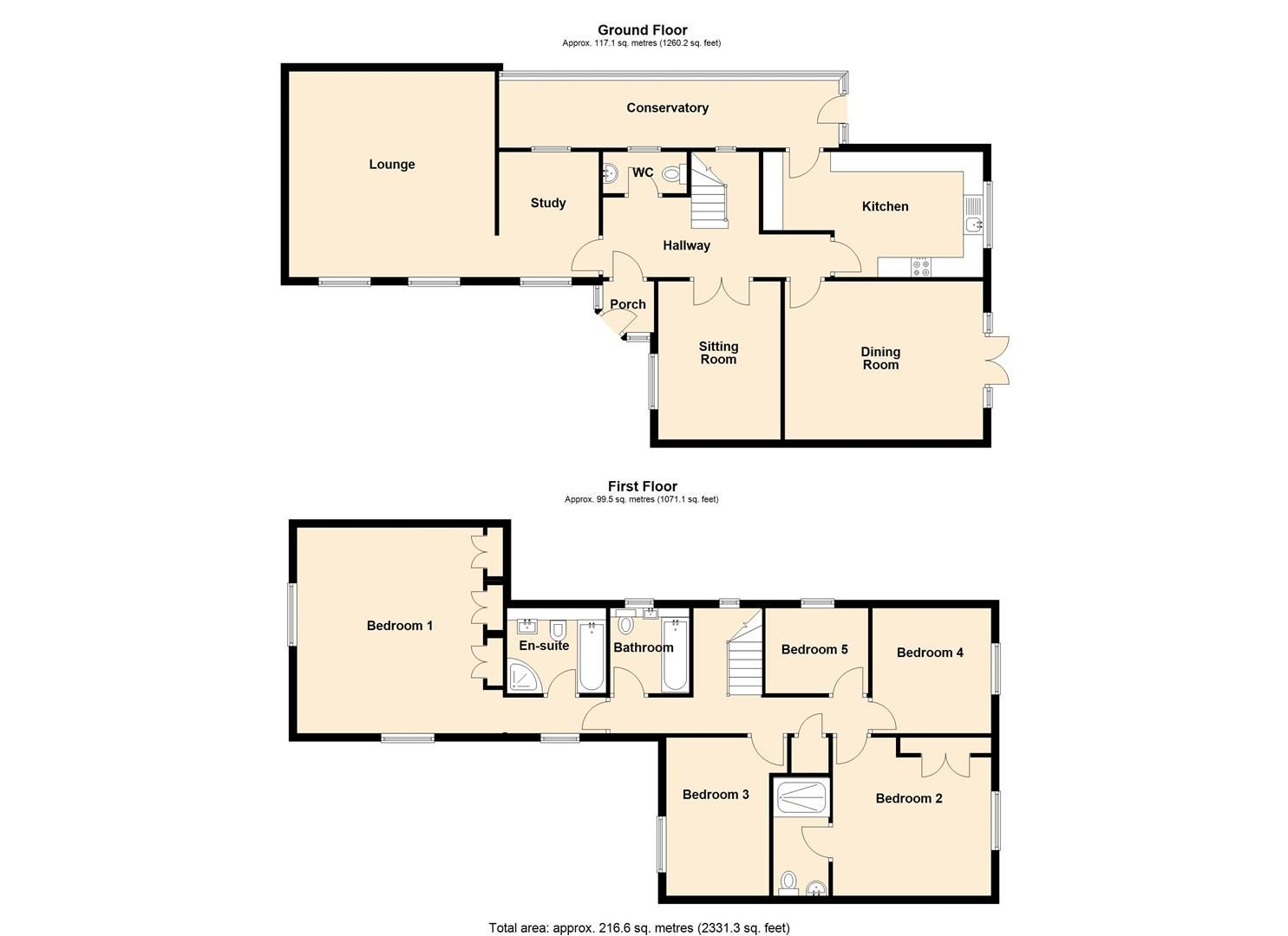 5 bed detached for sale in Leominster - Property Floorplan