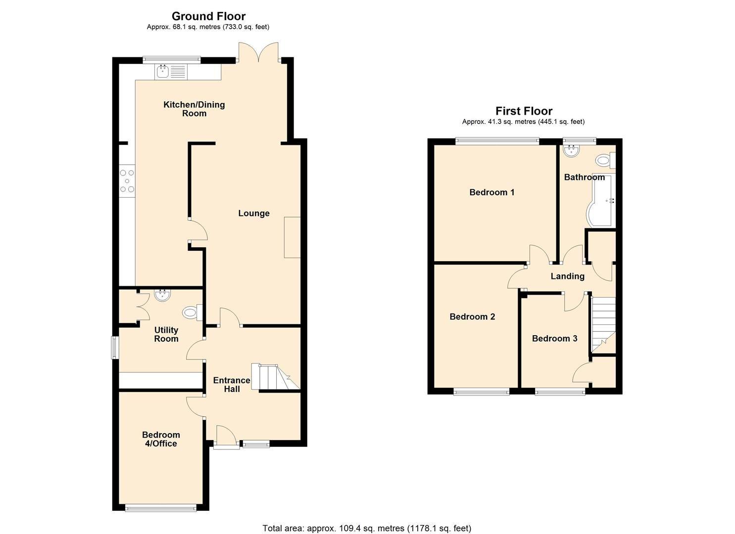 4 bed semi-detached for sale in Bromyard - Property Floorplan