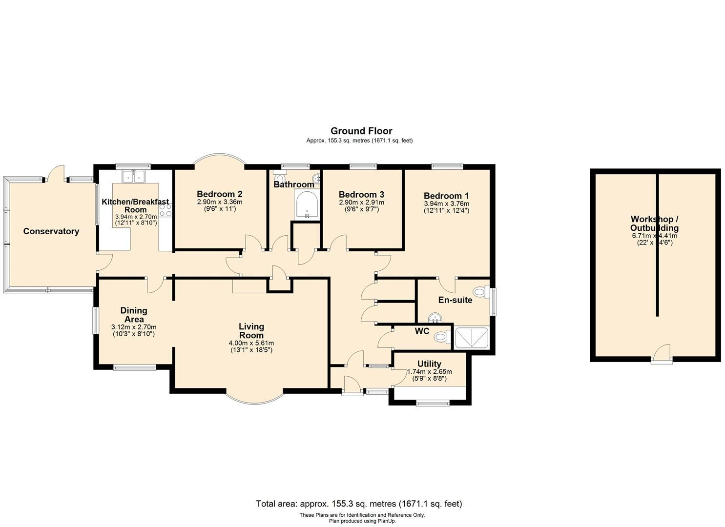 3 bed detached bungalow for sale in Burghill - Property Floorplan
