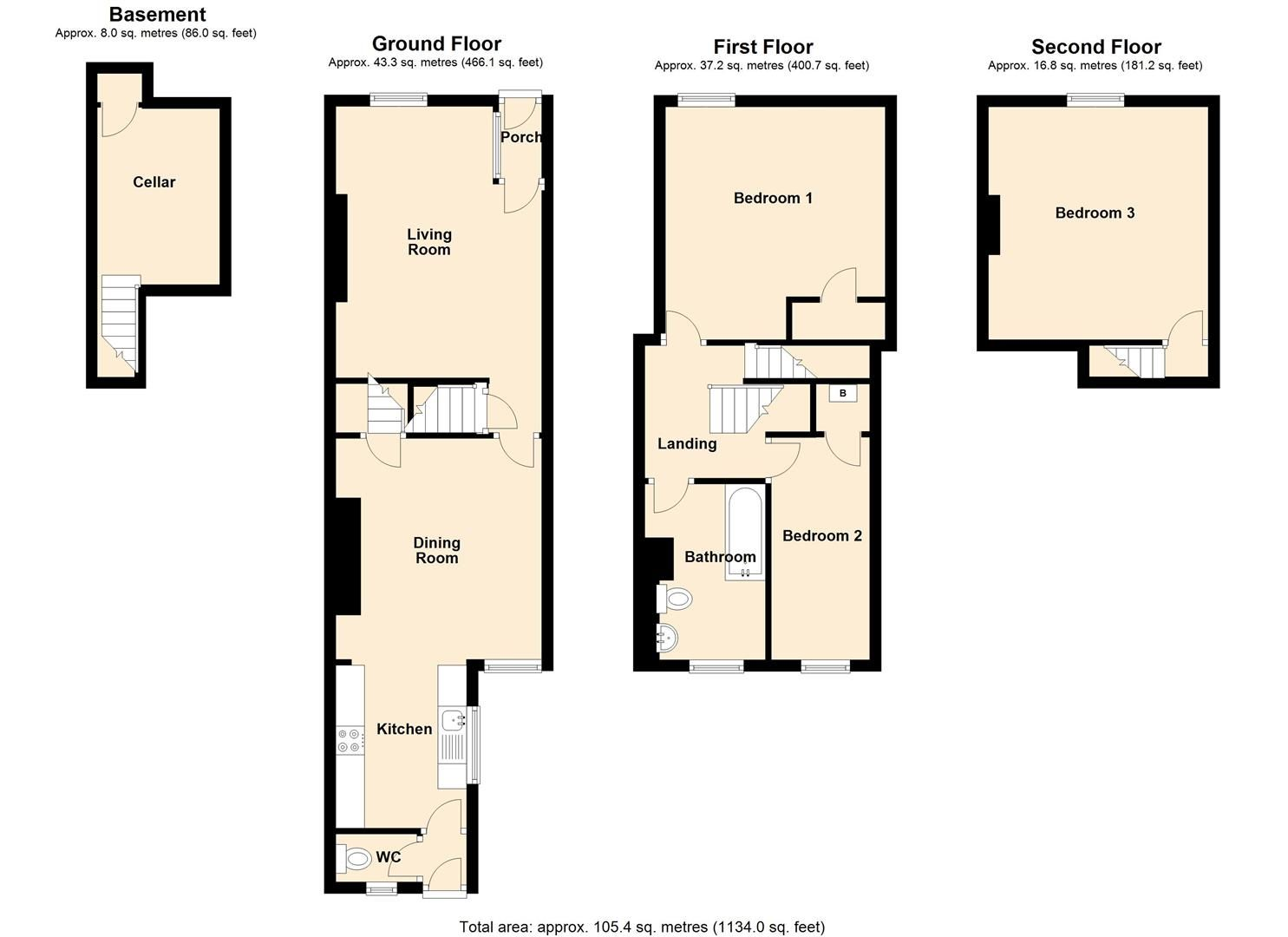 3 bed terraced for sale in Leominster - Property Floorplan