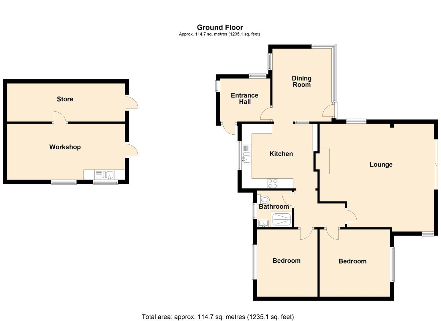 2 bed detached bungalow for sale in Weobley - Property Floorplan