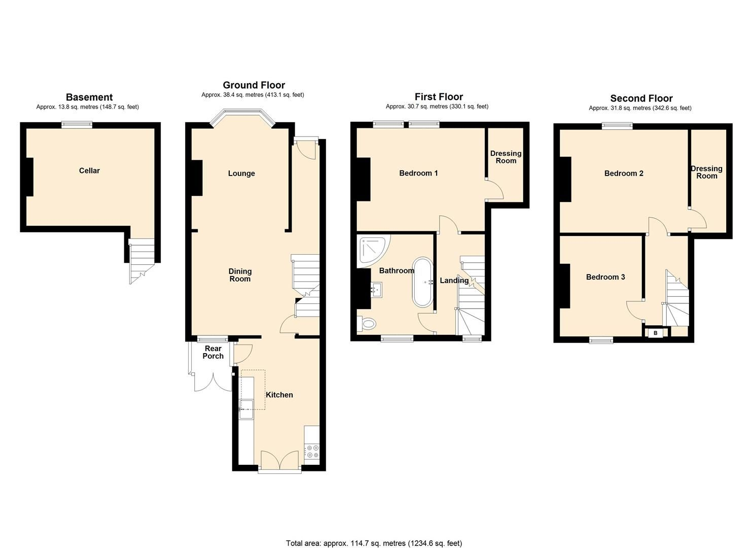 3 bed end of terrace for sale in Leominster - Property Floorplan