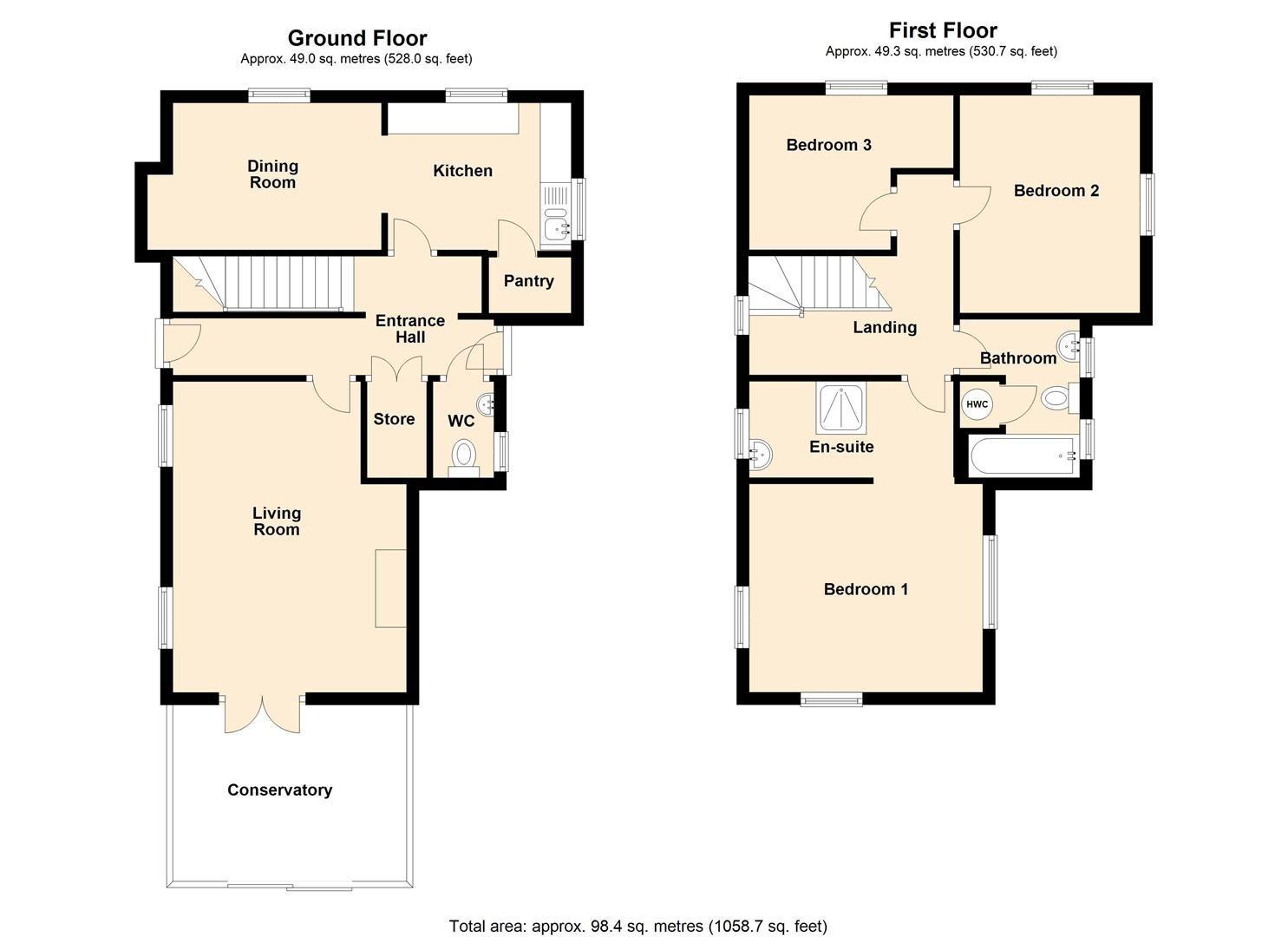 3 bed detached for sale in Kingsland - Property Floorplan