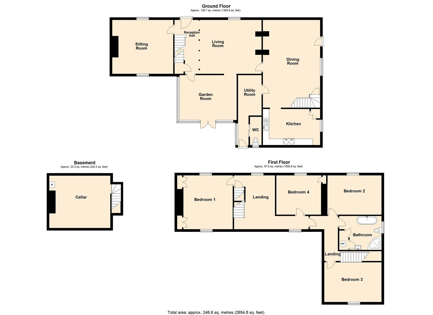 4 bed country house for sale in Lyonshall - Property Floorplan