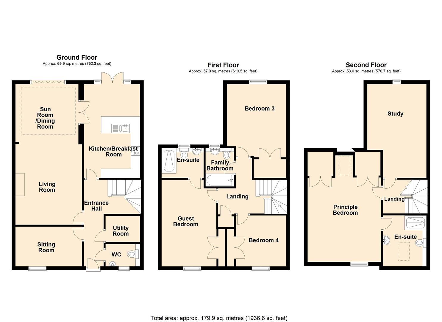 4 bed detached for sale in Weobley - Property Floorplan