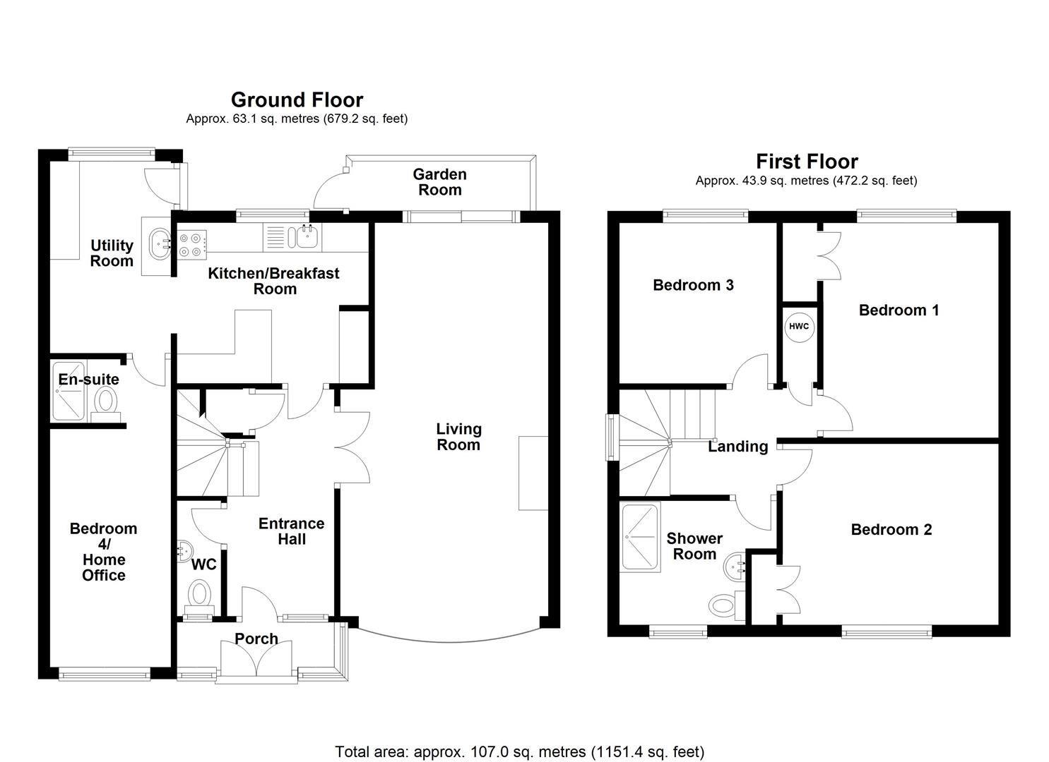4 bed link detached house for sale in Weobley - Property Floorplan