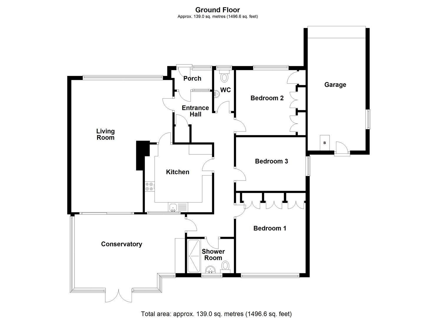 3 bed detached bungalow for sale in Bodenham - Property Floorplan