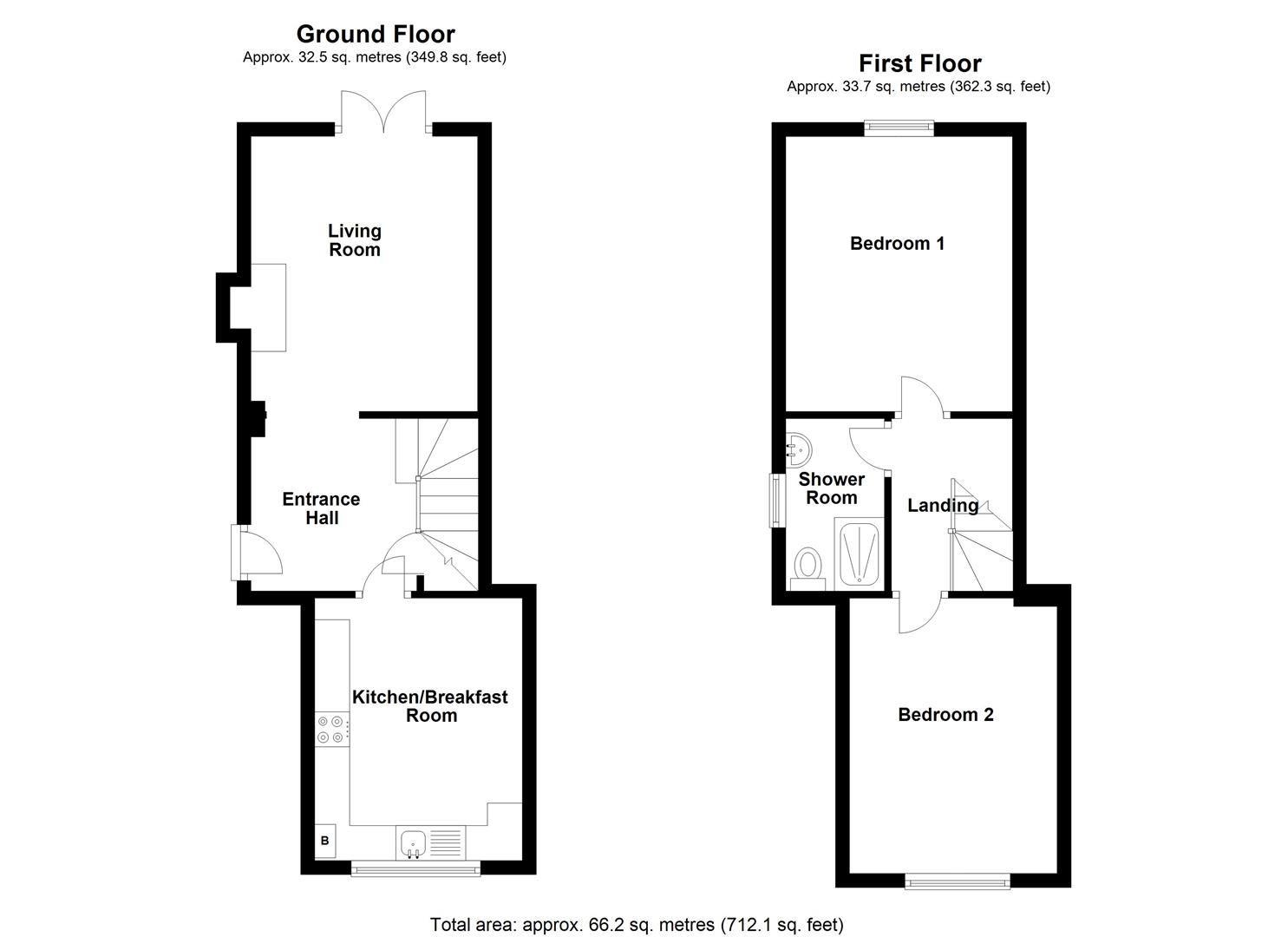 2 bed semi-detached for sale in Kingsland - Property Floorplan