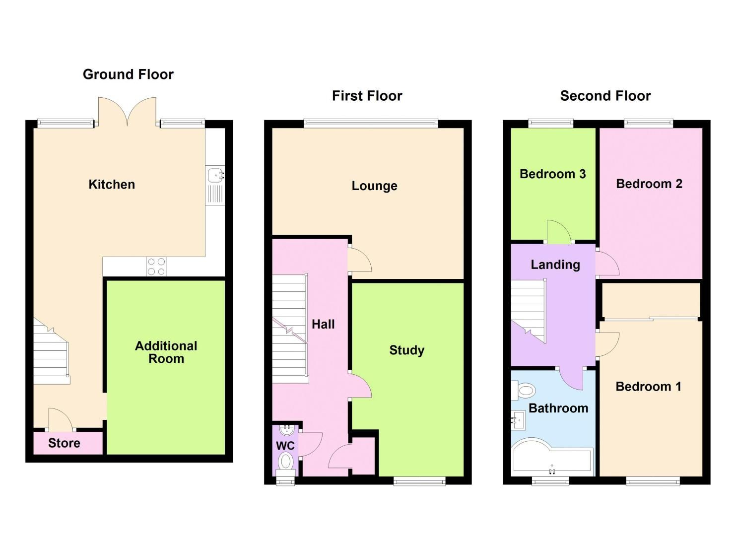 3 bed house for sale in First Meadow Piece - Property Floorplan