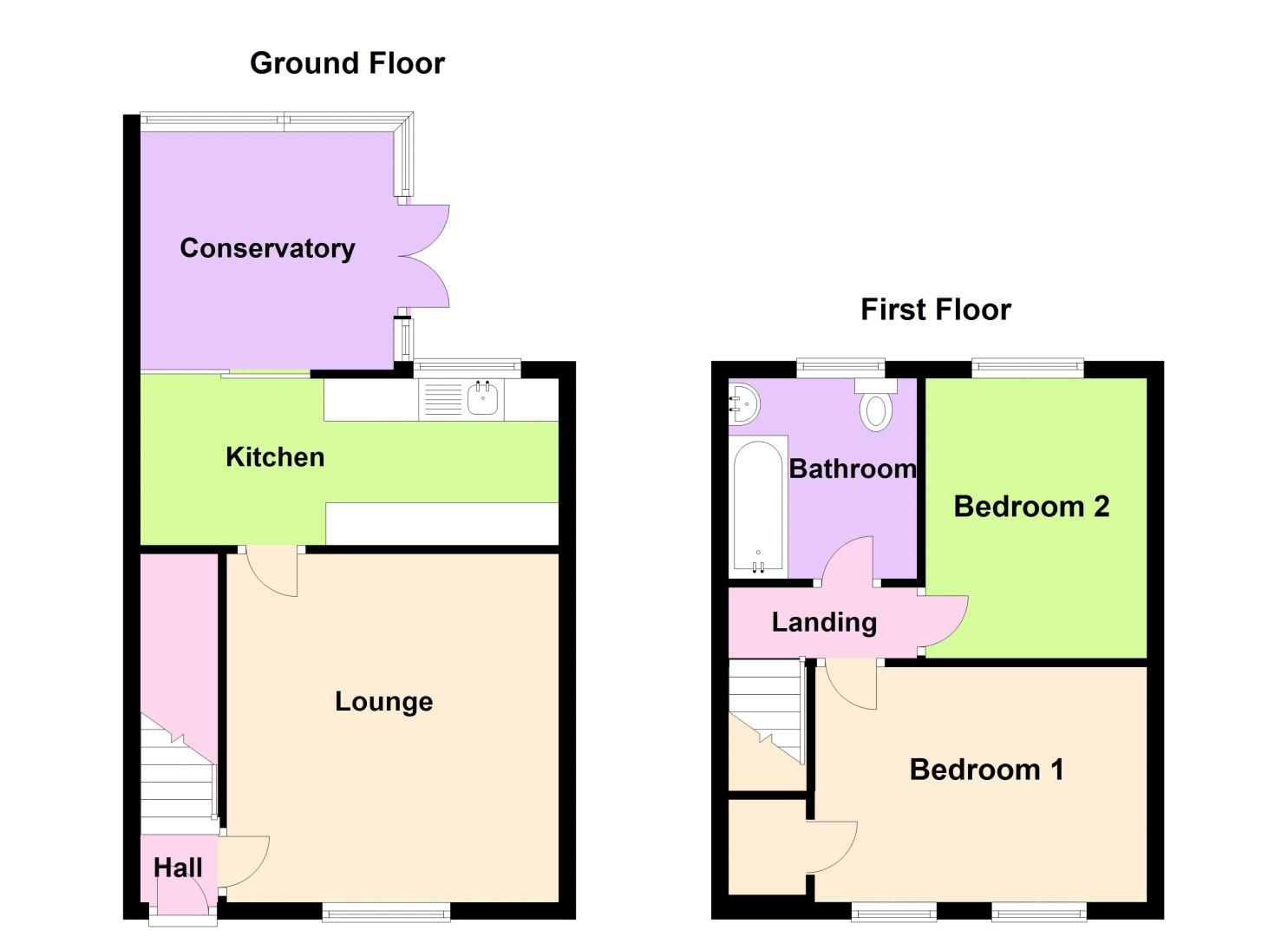 2 bed house for sale in Bolney Road - Property Floorplan