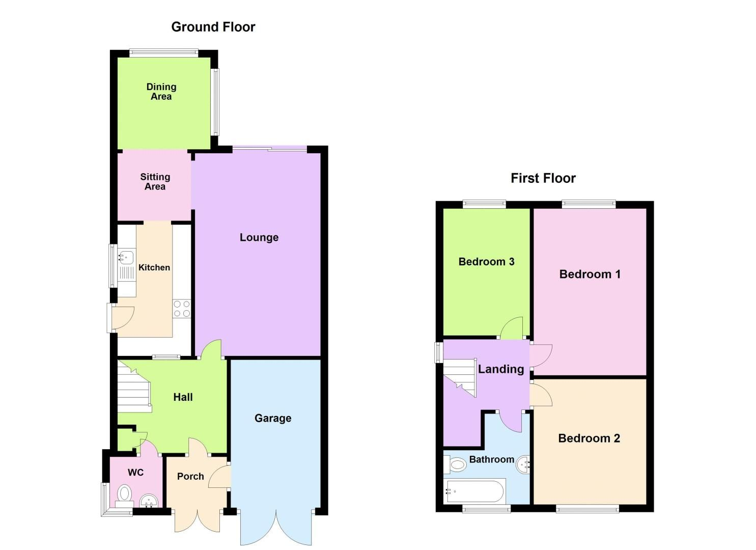 3 bed house for sale in St Davids Drive - Property Floorplan