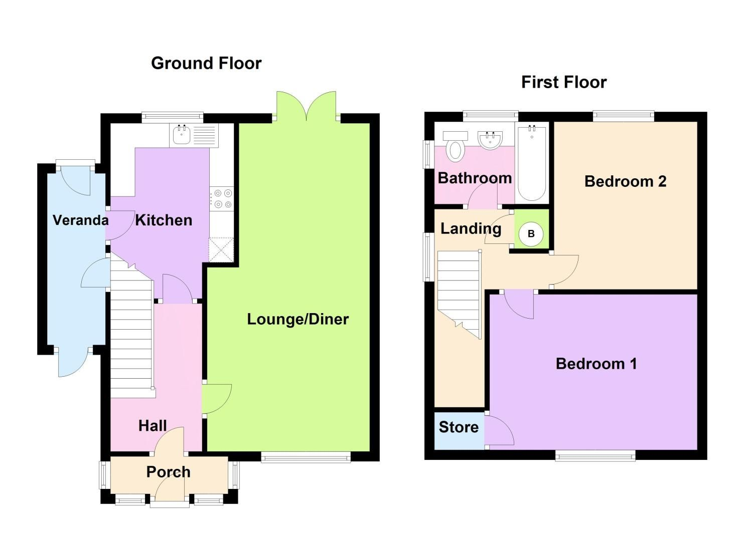 2 bed house for sale in Cornwall Avenue - Property Floorplan