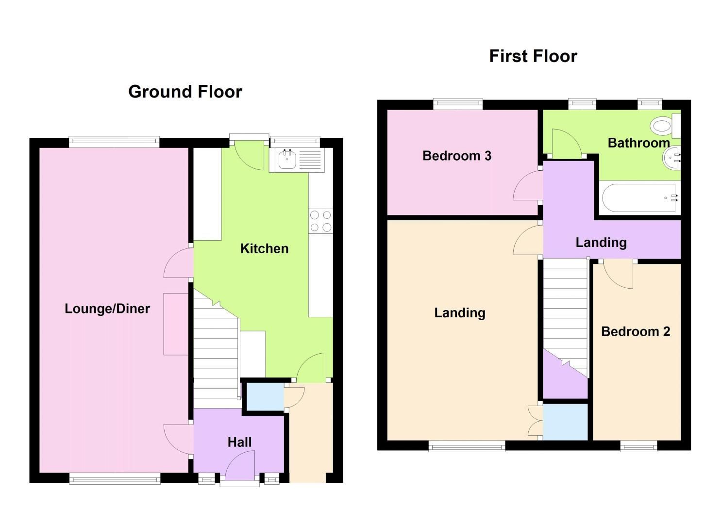 3 bed house for sale in Lockington Croft - Property Floorplan