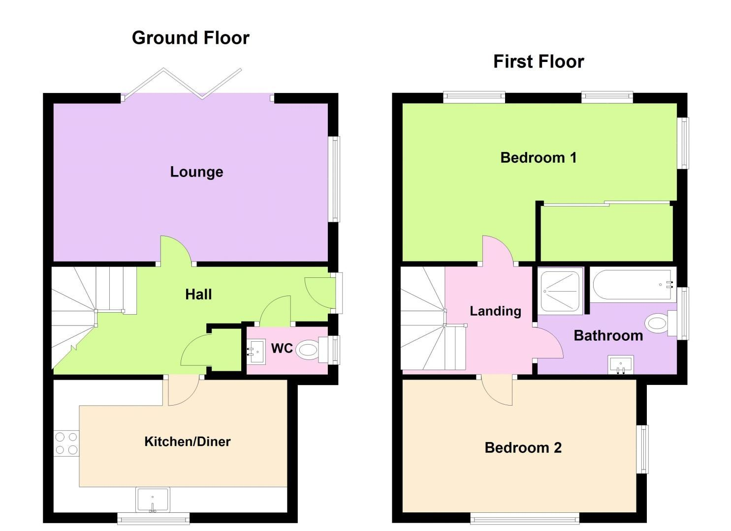 2 bed house for sale in Clay Drive - Property Floorplan