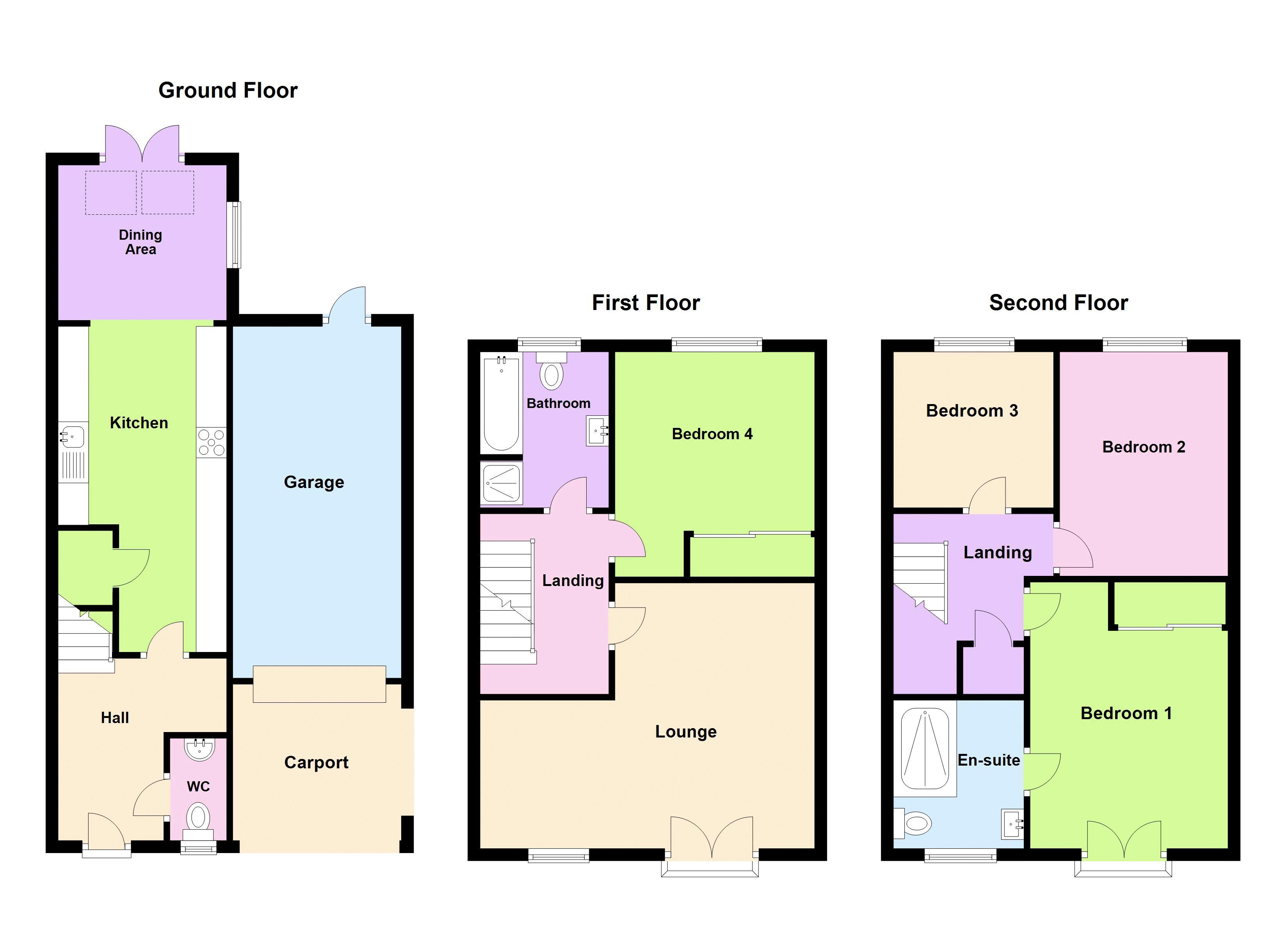 4 bed house for sale in Evered Close - Property Floorplan